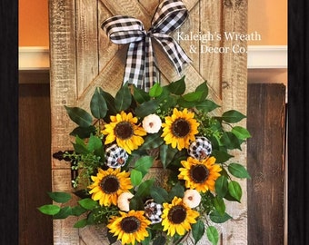 Fall Wreath with Sunflowers for Front Door, Buffalo Check Pumpkin Wreaths, Buffalo Plaid Decorations, Outdoor Autumn Wreath for Front Door