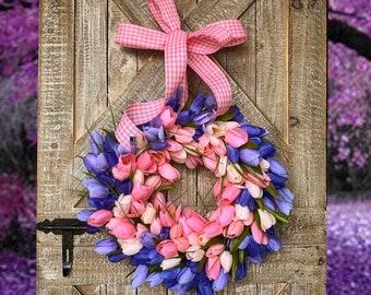 Tulip Wreath - Front Door Wreath - Tulip Wreath for Spring - Spring Wreaths for Front Door - Everyday Wreath for Front Door - Easter Wreath