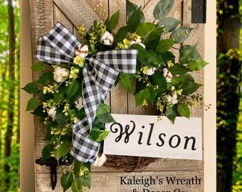 Wedding Wreath - Wedding Gift - Housewarming Wreath - New Home Gift - Mother's Day Gift - Last Name Wreath - Cotton Wreath