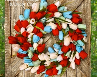 Patriotic Front Door Wreath, Red White and Blue Wreath, Tulip Wreath, Summer Wreaths, Patriotic Home Decor, 4th of July Wreath, Home Decor