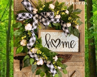 Spring Farmhouse Style Wreath, Spring Cotton Wreath, Gift for Mom, Cotton Home Decor, Front Door Spring Decor, Everyday Wreaths, Grapevine