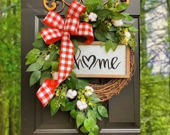 Patriotic Wreath,Monogram Wreath, Buffalo Check Wreath, Year Round Wreath, Every Day Wreath, Buffalo Plaid Wreath, Front Door Wreath