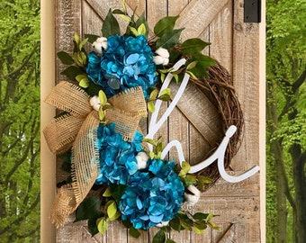 Spring Wreath, Spring Wreaths, Front Door Wreaths, Spring Hydrangea Wreath, Outdoor Wreaths, Summer Door Wreaths, Door Wreath