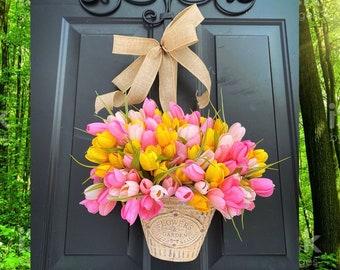 Spring Wreath, Spring Wreaths for Front Door, Wreaths for Front Door, Tulip Bucket Wreath, Summer Wreath, Farmhouse Rustic Decor, Home Decor