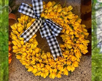 Spring Front Door Wreath with Tulips, Everyday Wreath, Black and White Buffalo Check Home Decor, Year Round Wreath, Outdoor Decor, Yellow