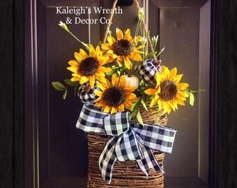 Sunflower Wreath, Basket Wreath, Flower Basket Wreath, Buffalo Check Wreath, Fall Sunflower Wreath, Fall Buffalo Check, Pumpkin Wreath