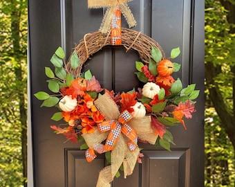 Fall Wreath, Fall Wreaths for Front Door, Front Door Wreath, Hydrangea Wreath, Pumpkin Wreath, Buffalo Check Autumn Decor, Burlap Farmhouse