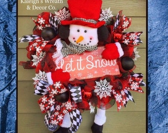 Snowman Wreath, Buffalo Plaid Christmas Wreath, Winter Wreath, Snowflake Wreath, Frosty the Snowman, Snowman Door Hanger, Buffalo Plaid