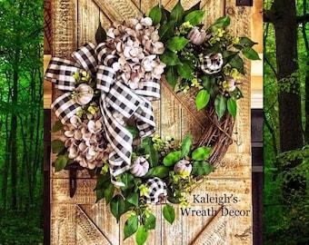 Buffalo Check Wreath, Fall Wreath, Fall Hydrangea Wreath, Fall Hydrangea Door Wreath, Gray Hydrangea, Neutral Fall Wreath, Fall Decorations