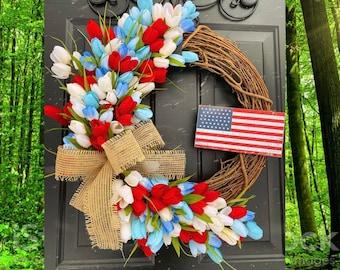 American Flag Wreath, USA home decor, Patriotic Wreath, Tulip Wreath, Summer Front Door Wreath, Farmhouse Door Wreath, Military Wreath