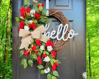 Spring Wreath for Front Door, Farmhouse Spring Decor, Cotton Front Door Wreath, Tulip Wreath for Front Door, Spring Wreath, Red, Patriotic