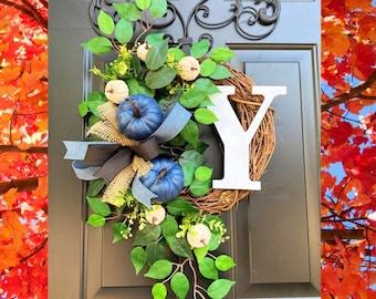 Blue Pumpkin Wreath, Blue Fall Wreath, Autumn Wreath for Front Door, Fall Grapevine, Wreath with Pumpkins, Burlap Fall, Monogram Fall Wreath