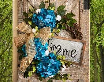 Blue Wreath, Year around Hydrangea Wreath, Hydrangea Wreath, Grapevine Wreath, Etsy Wreath, Wreaths for Door, Door Wreath, Monogram Wreath