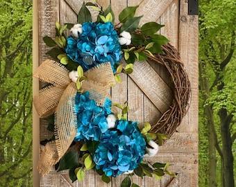 Hydrangea Wreath, Outdoor Wreath, Turquoise Wreath Hydrangea, Wreaths for Front Door, Spring Hydrangea Wreath, Wreath for Door, Housewarming