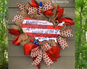 Home of the free because of the brave wreath, patriotic wreath, 4th of july wreath, Summer wreath, Memorial Day wreath, american flag wreath