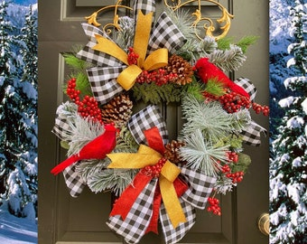 Christmas Wreath for Front Door, Cardinal Wreath, Buffalo Plaid Christmas Decor, Winter Wreath, Red Cardinal Decorations, Christmas Door
