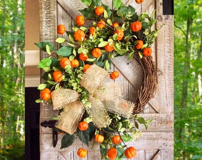 Featured listing image: FALL WREATH, Fall Wreaths for Front Door, Fall Wreaths, Wreath, Autumn Wreath, Front Door Wreaths, Fall, Pumpkin Decor, Wreath witn Pumpkins