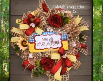 Everyday Wreath for Front Door, Theirs No Place Like Home Wreath, Housewarming Gift, Gift, Deco mesh Front Door Wreath, Wreaths, Burlap