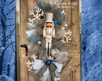 Nutcracker Wreath for Front Door, Blue and Silver Christmas Decor, Christmas Door Wreath, Nutcracker Decorations, Winter Snowflake Wreaths