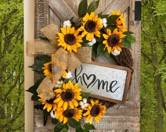 Sunflower Wreath for Front Door, Farmhouse Wreath, Sunflower Decor, Outdoor Wreath, Summer Wreath, Housewarming Gift, Mothers Day Gift, Home