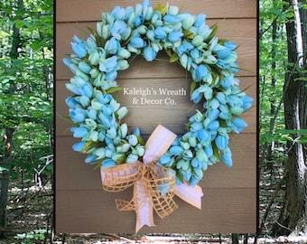 Everyday wreath, tulip wreath for front door, farmhouse tulip wreath, Spring wreath, Easter Wreaths, year round wreath, housewarming gift