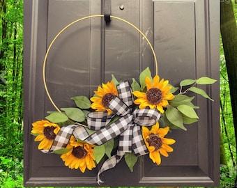 Sunflower Wreath, Sunflower Front Door Wreath, Hoop Wreath, Minimalist wreaths, Farmhouse, Front Porch Wreath, Summer Wreath, Spring Wreath