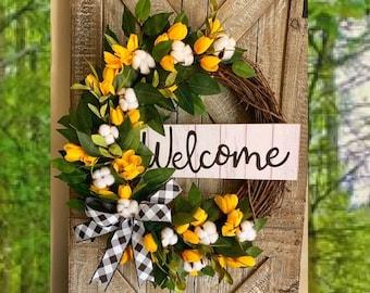 Spring Wreaths, Tulip Front Door Wreath,  Mothers Day Gift, Farmhouse Wreath, Buffalo Check Wreath, Greenery Wreath, Tulip Wreaths, Everyday