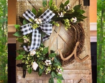 Welcome Buffalo Plaid Wreath, Wreath for Front Door, Flower Wreath, Spring Cotton Wreath, Wreaths, Spring Decor, Housewarming Gift, Rustic