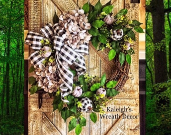 Fall Wreath, Autumn Wreath, Gray Buffalo Check Wreath, Fall Hydrangea Wreath, Fall Wreath, Autumn Hydrangea, Plaid Wreaths, Front Door Decor