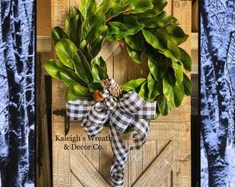 Farmhouse CHRISTMAS Wreath, Rustic Buffalo Plaid Christmas Wreath, Front Door Wreath, Magnolia Wreath, Winter Wreath, Wreaths, Buffalo Check