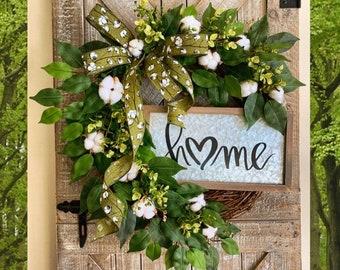 Greenery Wreath, Front Door Wreath with Cotton, Wreath for Front Door, Farmhouse Wreath, Year Round Wreath, Spring Wreath, Summer Wreath