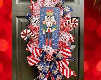 Nutcracker Wreath for Front Door, Blue Christmas, Nutcracker Decor, Christmas Front Door Wreath, Nutcracker Decorations, Winter Wreath, Home