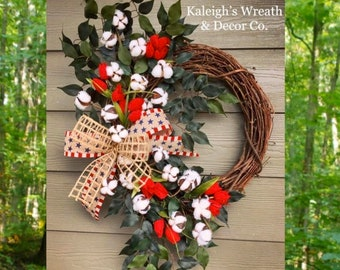 Patriotic Wreath, Red Tulip Wreath, Farmhouse Wreath, Memorial Day Wreath, Americana Decor, Independence Day Wreaths, Red White and Blue