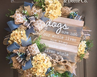 Dog Wreath for Front Door, Dog Welcome Wreath, Pet Lover Wreath, Dog Lover Gift, Hydrangea Wreath, Everyday Wreath, Year Round Wreath, Gifts