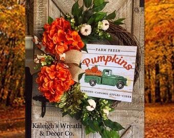 Fall Truck Wreath, Turquoise Truck, Front Door Wreath, Fall Farmhouse Decor, Hydrangea Wreaths, Autumn Pumpkin Wreath, Rustic Truck, Fall