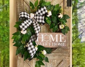 Wreath for Front Door, Year Round Wreath, Wreaths, Spring Wreaths for Front Door, Spring Wreaths, Cotton Wreath, Greenery Wreath, Grapevine