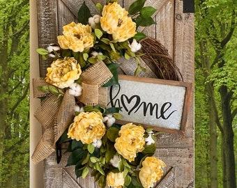 Spring Wreath for Front Door, Everyday Wreath, Year Round Wreath, Monogram Wreath, Farmhouse Home Decor, Housewarming Gift, Greenery Wreath
