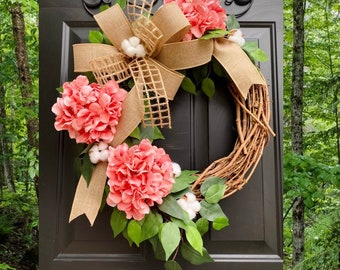 Pink Hydrangea Wreath, Farmhouse Wreath, Everyday Wreath, Front Door Wreath, Summer Wreath, Spring Wreath, Home Decor, Cotton Grapevine