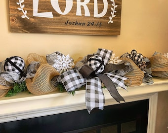 Buffalo Check Christmas Decorations, Christmas Garland for Mantle, Garland for staircase, Garland for Front Door, Black and White Plaid