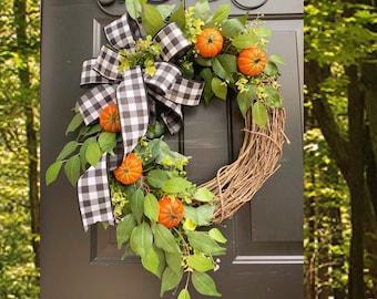 Orange Pumpkin Wreath, Thanksgiving Wreath, Black White Buffalo Check, Buffalo Plaid Wreath, Fall Decor, Pumpkin Decor, Monogram Fall Decor
