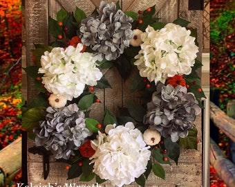 Fall Wreath, Hydrangea Wreath, Pumpkin Wreath, Thanksgiving Decor, Front Door Wreath, Rustic Fall Decor, Farmhouse Fall Wreath, Berry Wreath