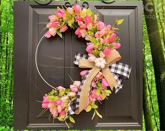 Spring Wreath for Front Door, Buffalo Check Decor, Cotton Front Door Wreath, Tulip Wreath for Front Door, Hoop Wreath, Minimal, Mothers Day