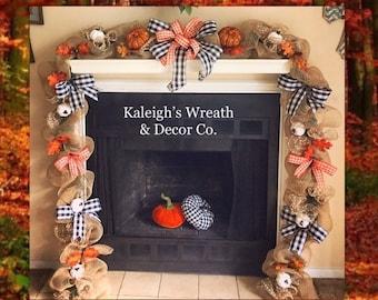 Autumn Garland, Fall Wedding Decor, Fall Wedding Garland, Pumpkin Decor, Buffalo Check Decorations, Halloween Decor, Autumn Decor
