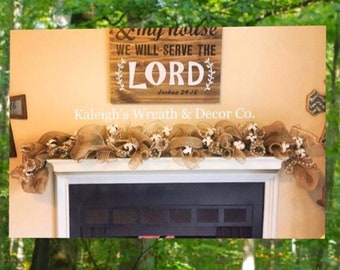 Burlap garland with lights, cotton garland with lights, garland for mantle, fall fireplace garland, fall home decor, fall wedding decor