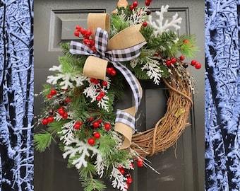 Rustic Christmas Wreath, Buffalo Plaid Christmas Wreath, Pine cone Wreath, CHRISTMAS Door, Winter Wreath, Burlap Grapevine Holiday Decor