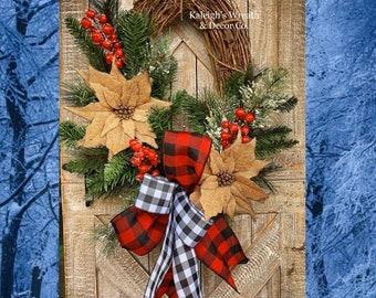 Farmhouse Christmas Wreath for Front Door, Burlap Wreath, Christmas Door Hanger, Buffalo Plaid Christmas Decor, Poinsettia Grapevine Wreath