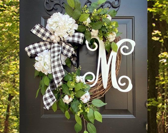 Featured listing image: Monogram Wreath, Buffalo Check Wreath, Year Round Wreath, Every Day Wreath, Hydrangea Wreaths, Front Door Wreath, Spring Wreath, Decor