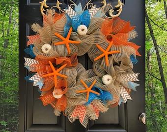 Fall Beach Deco mesh Wreath - Starfish Wreath - Coastal Fall Decor - Burlap Beach Wreath - Pumpkin Beach Decorations, Starfish Front Door