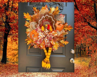 Turkey wreath, FALL WREATH, Thanksgiving Decor, Turkey Decor, Fall Wreaths for Front Door, Fall Wreaths, Autumn Wreath, Front Door Wreaths