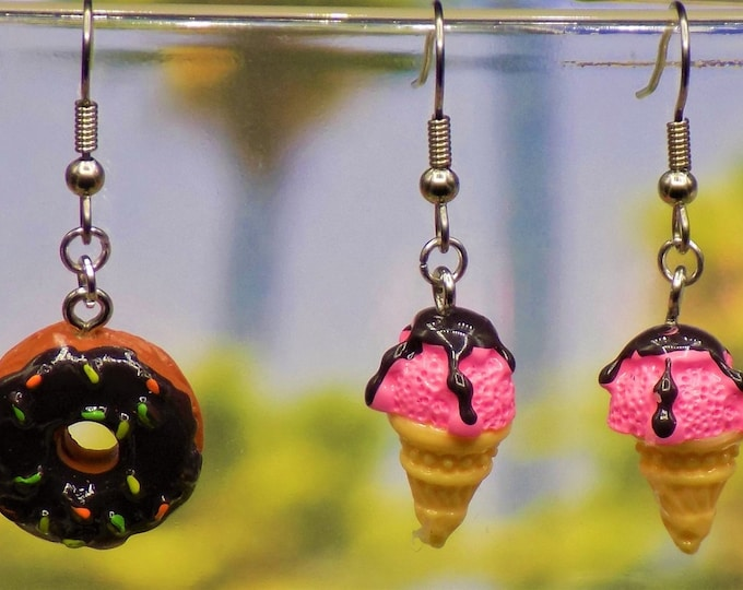 Donut, Ice Cream Cone & Cupcake Earrings - Donut - Cupcake - Ice Cream Cone Polymer Clay Charms - Hypo Allergenic Surgical Steel Ear Wires
